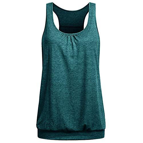 Grün Training Top T-shirt (Damen T Shirt, CixNy Bluse Damen Kurzarm Sommer Ärmelloser Rundhalsausschnitt Runzliger Loser Racerback Trainings Tank Oberteil Tops (Grün, Medium))