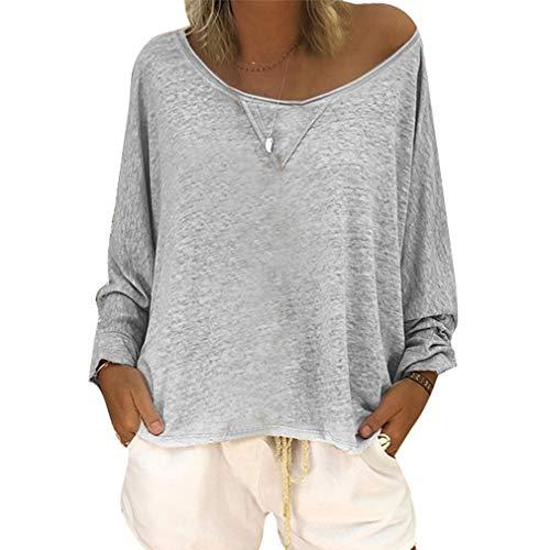Top A Manica Lunga da Donna Autunno Blusa Sfilata Jersey Shirt Baggy Blouse Grigio M