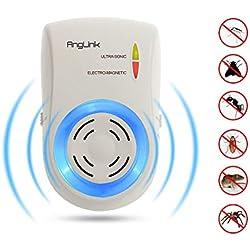 AngLink - Defensa por ultrasonidos contra plagas para Mascotas, ultrasonido con Distribuidor electromagnético contra Ratas, Ratones, arañas, Hormigas y cucarachas para Toda la casa