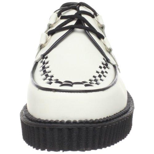 Demonia Creeper-602, Chaussures À Lacets Pour Hommes Blanches (en Cuir Blanc)