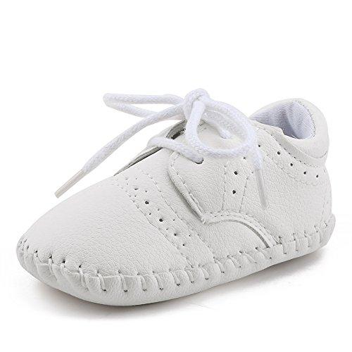 DELEBAO Babyschuhe Baby Turnschuhe Neugeborenen Junge Schuhe Krabbelschuhe Aus Leder Weiche Sneaker für Kleinkinder (Weiß,12-18 Monate)