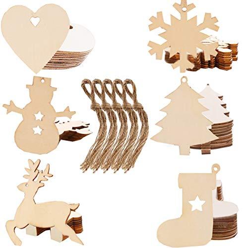 Liuer 60PCS Weihnachtsanhänger Tannenschmuck Basteln Weihnachten DIY Weihnachtsdekoration Holz Scrapbooking Holz Natur Holzscheiben Handwerk Dekoration Holz Tischdeko Weihnachten