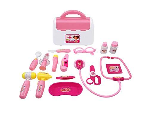 Warmman Funktionell Gute Qualität und Kauf wert 15 Stücke Kinder Arzt Set Mini Medical Box Ärzte Kit Doktor Spielset für Kinder (Rosa)