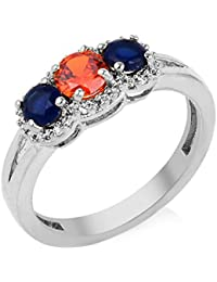Florishkart Alloy Metal Multi Colour Stone Band Ring Wedding Ring For Girls & Womens