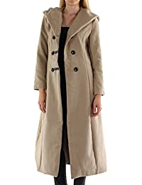 Alda New Womens Winter Faux Wool Hooded Ladies Long Coat