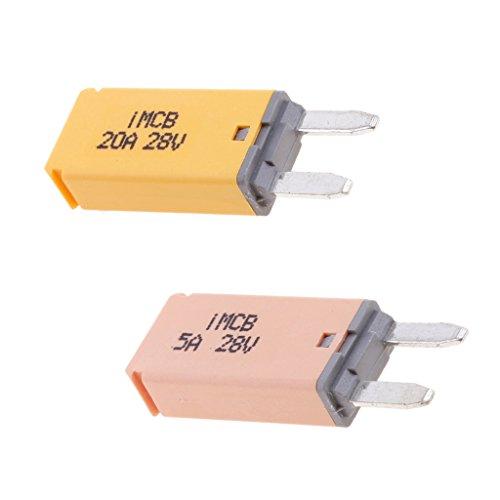 MagiDeal 2 Stk. Autos KFZ ATM Mini Sicherung Blade Fuse Flachsicherung Stromunterbrecher 5A + 20A 20a Mini Blade Fuse