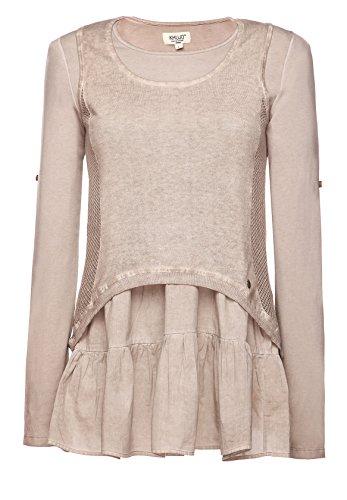 khujo -  Maglia a manica lunga  - Basic - Collo a U  - Maniche lunghe  - Donna beige (WA15BEI-WA) Medium