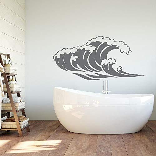 117x57 cm Ocean Waves Wandaufkleber für Bad Meer Natur Wandtattoo Schlafzimmer Strand Themed Wave Room Decor Wasserdicht Wandbild Tapete