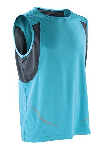 Result ärmelloses Sportshirt Athletic S186X Aqua / Grau