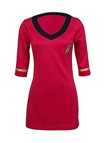 Kostüm Star Trek Weiblich - CosDaddy Cosplay Kostüm weiblich Betriebsart Kurzarm Uniform Rot (M)