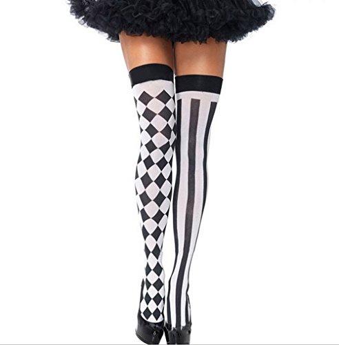 HENCY Halloween Strümpfe Fasching Socken Schwarze Karos Streifen (Halloween Strumpfe)