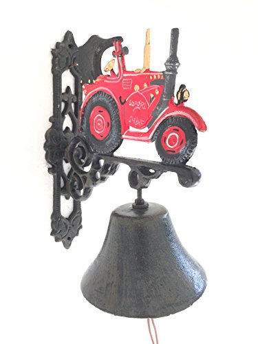 Wandglocke Glocke Türglocke Hausglocke Traktor Trecker Gusseisen Landhaus H 34cm