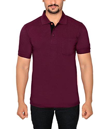 Fabilano Men's Polo Neck Half Sleeve Cotton T-shirt with Pocket (2600-11-Maroon-M)