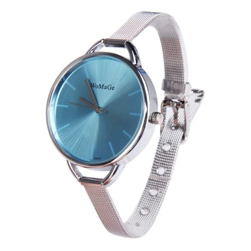 Rrimin Oversize Quartz Watch with Stainless Steel Narrow Band for Woman Light Blue