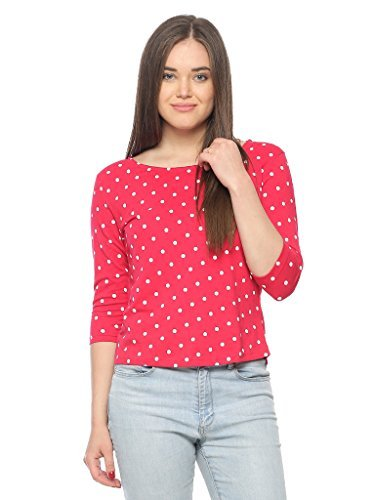 Vvoguish Women's Slim fit T-Shirt (VVPNTTP1030MGNT-S_Megenta_Small)