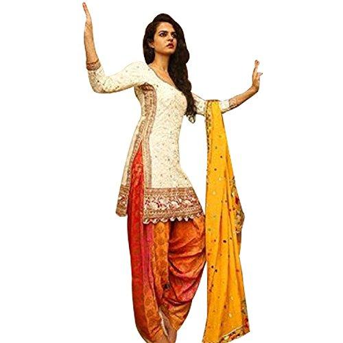 Everest Enterprise Women's Cotton Unstitched designer DressMaterials (EA001-10022 WhiteKuddy_FreeSize_NewCollection_patiala Suits)