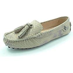 Minitoo , Damen Durchgängies Plateau Sandalen mit Keilabsatz , braun - Khaki Snake-print - Größe: 40