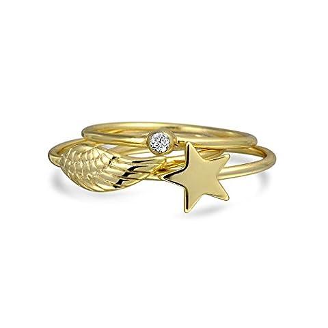 Bling Jewelry Angel Wing Star CZ Stapelbar Ringe Silber vergoldet