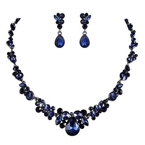 Ever Faith Damen Österreich Kristall Braut Floral Teardrop Halskette Ohrringe Set Blau Schwarz-Ton (Schwarz Schmuck-set Rot Und)