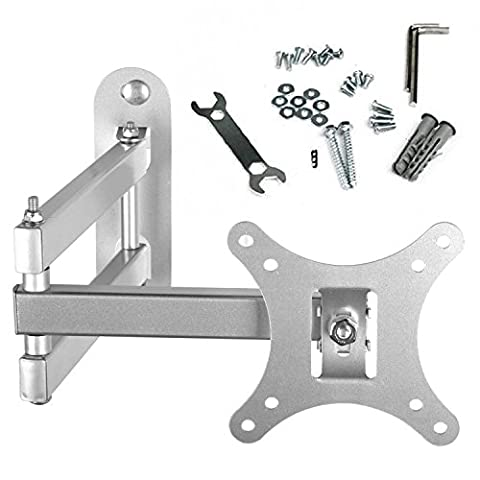 BPS Tilt & Swivel TV Wall Mount Bracket with Arm (Silver) for 10-30 Inch LED LCD Plasma Widescreen Full HD LED Freeview HD TV Screen Monitor, Max Load Lapacity 66lbs, VESA 100x100mm 75x75mm