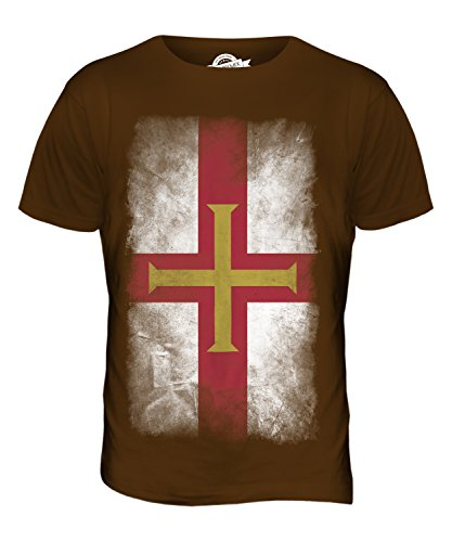 CandyMix Guernsey Verblichen Flagge Herren T Shirt Braun