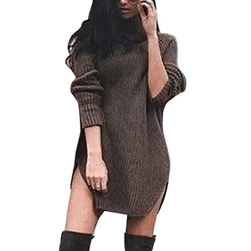 Hemd Damen Internet Herbst Winter gestricktes Hemd Pullover Split lange Rollkragen Pullover Tops (Grün, L) (Split-jeans-rock)