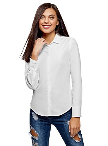 Oodji ultra donna camicia basic in cotone, bianco, it 42 / eu 38 / s