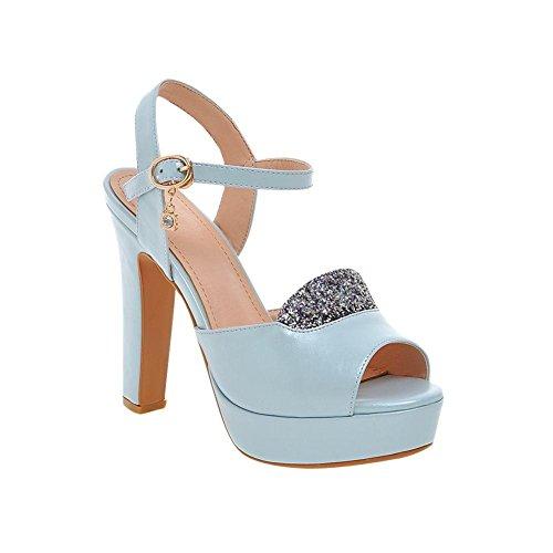 Mee Shoes Damen modern Peep toe Schnalle Slingback Strass Pailletten Plateau Sandalen mit hohen Absätzen Blau