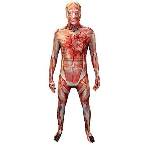 Morphsuits - Costume da uomo senza pelle con il cuore scoppiato, Adulto, taglia: XL