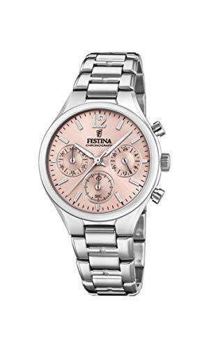 Festina Damen Chronograph Quarz Uhr mit Edelstahl Armband F20391/2