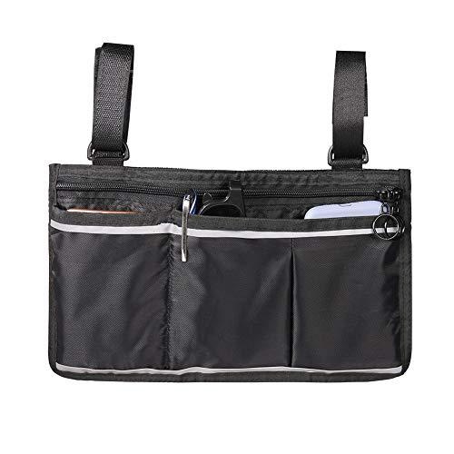 CerisiaAnn Rollstuhltasche, langlebig, multifunktional, Aufbewahrung, Hängetasche, große Kapazität, wasserdichte Tasche, Armlehnen-Tasche Schwarz