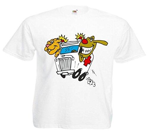 Motiv Fun T-Shirt Tierarzt Krankenwagen Tierrettung Cartoon Spass Film Serie Mot Weiß