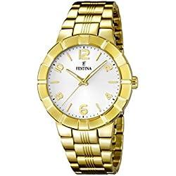 University Sports Press F16713/1 - Reloj de cuarzo para mujer, con correa de acero inoxidable chapado, color dorado
