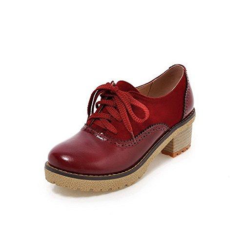 Mulheres Allhqfashion Torno Toe Meados Rendas Bombas Puramente Sapatos Material Macio Calcanhar Borgonha