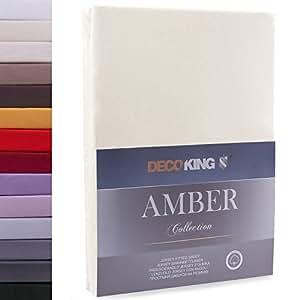 DecoKing Lenzuolo sotto con Angoli Elasticizzati 100% Jersey in Cotone, Amber Collection, 80x200-90x200 cm, Beige
