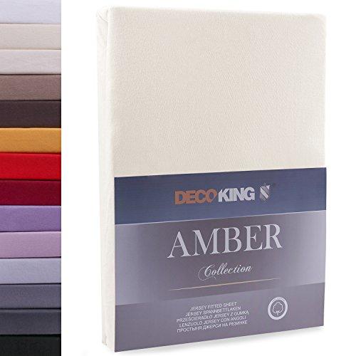DecoKing 17364 140x200-160x200 cm Spannbettlaken beige 100% Baumwolle Jersey Boxspringbett Spannbetttuch Bettlaken Betttuch Cappuccino Amber Collection