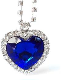 Dp Design - Collar con el colgante de corazón del mar de la película Titanic, con piedras brillantes
