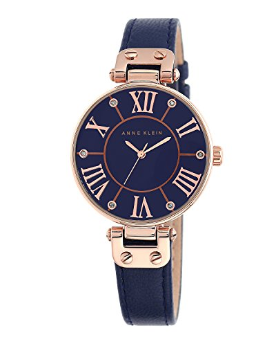Anne Klein Women's The Signature Quartz Watch with Blue Dial Analogue Display and Navy Leather Strap 10/N9918RGNV