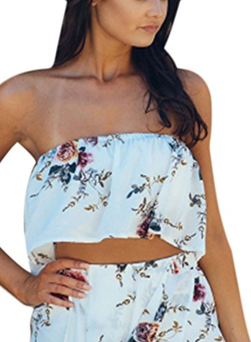 Azbro Women's Fashion Strapless Crop Top White