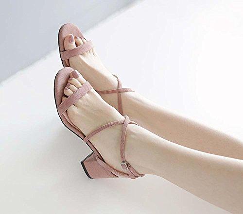 Pattino di pelle di pecora piena per le donne Ankle Strap Piccolo Heels Chunky Puro Clolor Sandali di lavoro per le donne lotus color