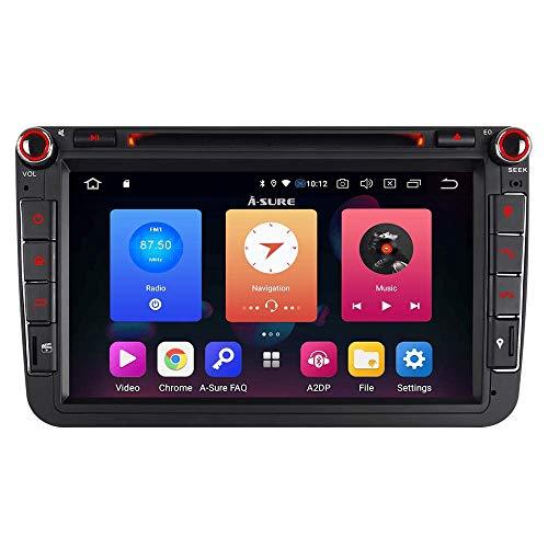 Android 9.0 8 Zoll 32GB Autoradio Navigation DVD GPS für VW Passat Golf 5 6 Touran Tiguan Multivan T5 Polo Jetta Caddy Skoda Seat Altea DAB+ WiFi 4G OBD2 Mirrorllink