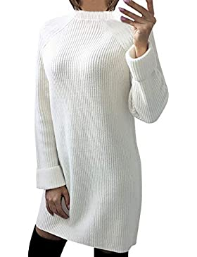 [Patrocinado]DAYLIN Mujer Vestido de Suéteres, Casual Manga Larga Cuello Redondo Color Sólido Jerséis Prendas de Punto