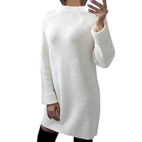 iHENGH Damen Herbst Winter Bequem Lässig Mode Frauen Womens Casual Langarm Pullover O Hals Pullover Kleid(Weiß, M) (Kleid Kim Roten Kardashian)