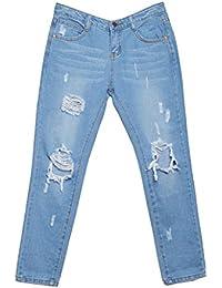 Femme Pantalon genou Distressed troué Boyfriend Jeans Mode denim Taille Haute