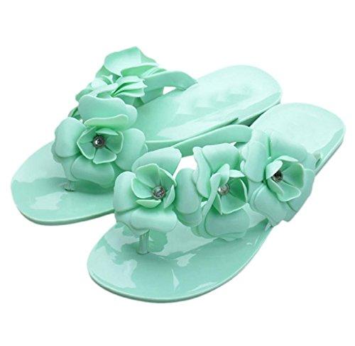 Covermason Bohemien Stil Damen Sandalen Mode flache Ferse Flip Flops Strand Pantoffeln Grün