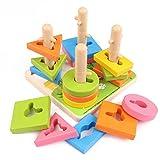 CCDZ Kind Frühe Erziehung Lernspielzeug Vier Sätze Von Spalten Baustein-Puzzle Baby Hands-On-Betrieb Holzspielzeug