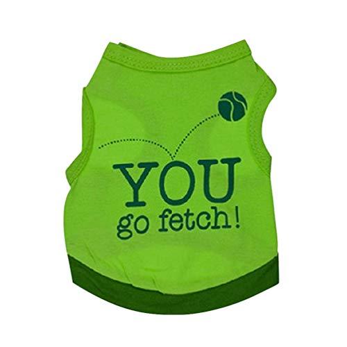 POPETPOP Ärmellose Kleidung des Haustier-Jersey-Grünen Hundet-Shirts Haustierbasketballs Die Sie Gehen Muster für Hündchenkatzen Irische Partei-Haustierausstattung Größe S