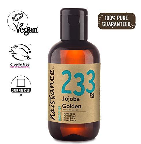 Naissance Aceite Vegetal de Jojoba Dorada n. º 233 - 100ml - Puro, natural, prensado en frío, vegano, sin hexano y no OGM - Humecta y equilibra la piel, hidrata el cabello y todo el cuerpo.