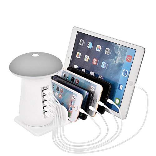 Teepao Lampada da Tavolo LED a fungo con LED Touch e staffa per stazione di ricarica USB