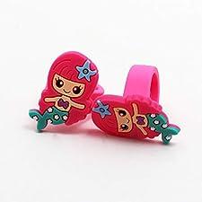 Kinder Ring Schmuck PVC Silikon Kindheit Mädchen Traum Märchen Meerjungfrau Mini Netter (1PC, rot)